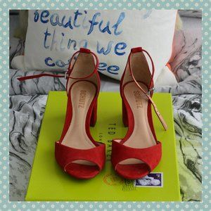 BNWT Schutz Roama Red Suede Sandals